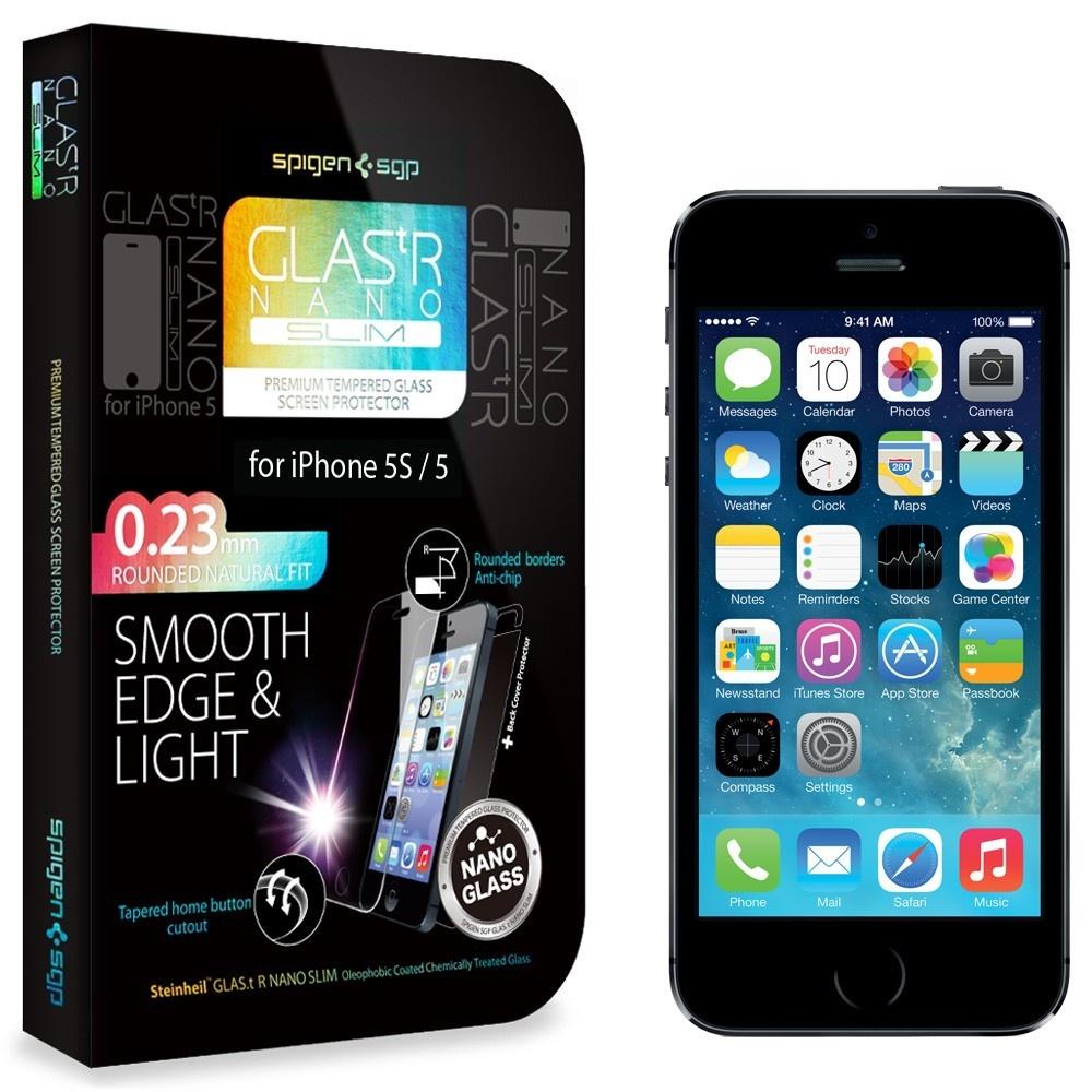 iPhone 5 / 5s / 5c 用フィルムの決定版! 厚さ0.23mmのガラスフィルム「GLAS.tR ナノスリム」 / SPIGEN SGP