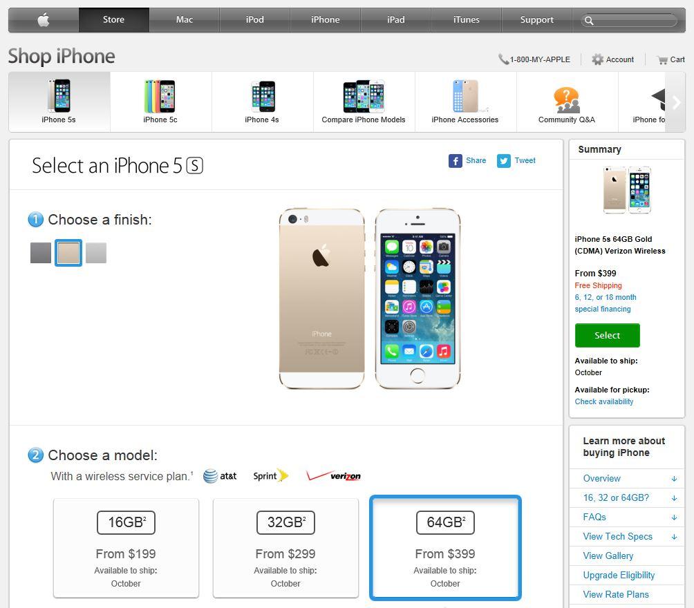docomo版 iPhone 5s 予約状況について (2013/10/09 現在)